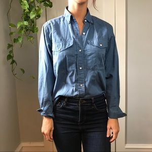 DVF Vintage Blue Soft Cotton Button Down Blouse